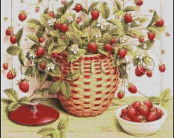STRAWBERRIES  cross stitch pattern No.101