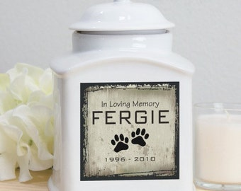 Personalized Ceramic Pet Urn, pet memorial, dog memorial, pets, ceramic, memorial, personalized, cremation, white, memorial gift -gfyU245316