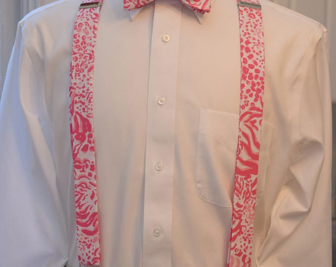 Men's Suspenders & Bow Tie set, Lilly pink/white Get Spotted, clip on suspenders, mens prom wear, groom/groomsmen gift, wedding party attire