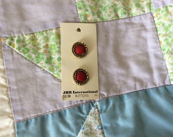 Two Vintage Carded Buttons, Shank, Round, Gold With Red Centers, 3/4 in., Made in Italy