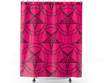 Pink Baphomet Shower Curtain