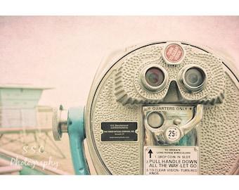 Vintage Photography. Santa Cruz. Beach. Lifeguard Tower. Viewfinder. Pink. Blue Gray. Summer. Travel photography. California art