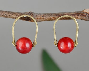 Red coral studs, hammered earrings, brass small hoop, women big stud, red stone earrings, colorful studs, minimal jewelry, gift for her.