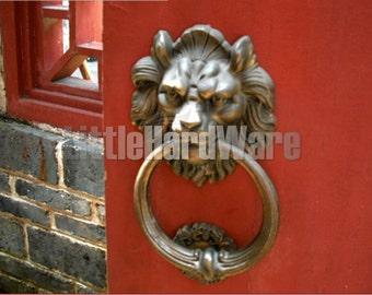 Vintage High Quality Lion Head, Animal Head Door Knocker,Door Hangers - 180 mm X 110 mm - Cast Solid Brass - 3 Colors to Choose - BLK03