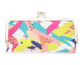 Abstract Art Cell Phone Wallet Clutch with Kisslock Frame Closure in a Brushstroke Print fabric