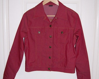 red faux Levi jacket in polyester blend yellow stitching 80s M