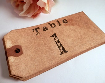 Table Numbers. Wedding. Bohohemian Anthropologie. Vintage Wedding. Chic. Rustic. Luggage Tag. Hang Tag. Large Table Numbers. Set of 10. DARK