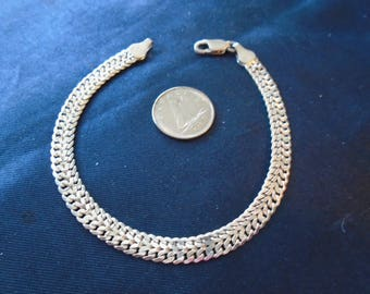 """Milor Chevron Chain 5.5mm 6.5g Sterling Silver Bracelet (7.5"""")"""