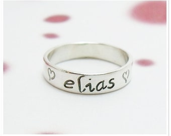 Personalized Hand Stamped Sterling Silver - 4mm x 1mm, promise rings, wedding rings, purity rings and friendship rings