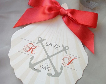 Anchor Wedding Save the Date, Beach Theme Wedding Save the Date, Coral Sea Shell Wedding Save the Date Set, Nautical Wedding Save the Date