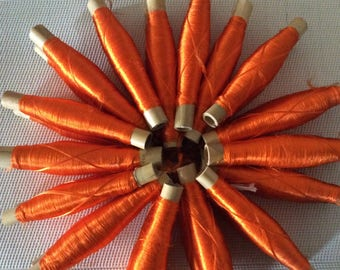 Set of 2 spools of silk Orange Moroccan sabra, silk threads