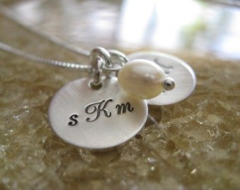 Personalized Hand Stamped Sterling Silver Necklace Brushed Monogram Duo