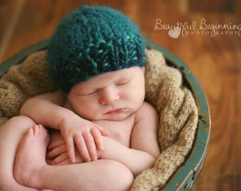 Green Teal Boy Hat Photo Prop Newborn Beanie Baby Going Home Mohair Hand Knit Shower Gift Knitted Coming Infant Photography Cap Handspun