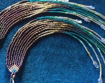 "Maui Swan Designs ""Golden Fire Opal Rain"" handmade 12"" Long Seed Bead Earrings with Ethiopian Fire Opals & 14K gold-filled beads"
