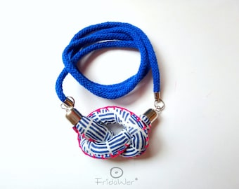 Knot necklace beach style in Blue and Fuchsia Costume gifts Long sailor necklace, textile necklace Sailorette knot necklace for her