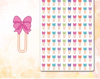 Bow Paper Clip Stickers, Bow Stickers Planner Stickers, Pink Bow Stickers,