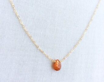 Madagascar Sunstone Necklace, Sunstone Necklace, Sunstone Jewelry, Sunstone Jewellry, Dainty Choker, Dainty Gold Choker Delicate Choker GN47