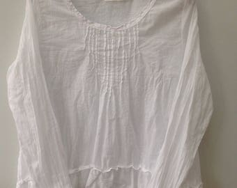 White cotton voile blouse.