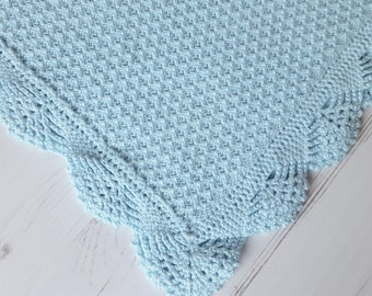 """Made To Order Baby Blanket/ Cotton Knitted Baby Blanket/ Baby Wrap 30""""x 39"""""""
