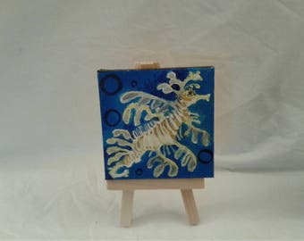 Mini Paintings Sea dragon Ocean Life series 4 x 4 inches with easel  Series Landscape CT gifts