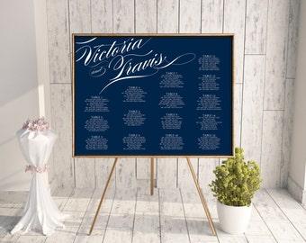 Wedding Seating Chart, Reception Seating Chart, Printable Seating Chart, Seating Chart PDF, Script, Calligraphy, Navy Blue, jpeg, Pirouette