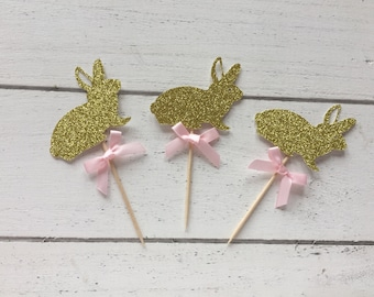 Bunny Cupcake Toppers . Gold Bunny Rabbits. First Birthday Party. Birthday Party. Bunny Rabbit Cupcake Toppers.Gold Glitter Table Decoration