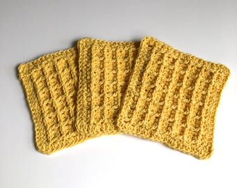 Waffle Crochet Dishcloths - Set of 3 - Cotton Potholders - Handmade Kitchen Decor
