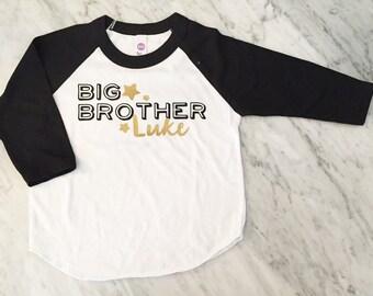 BIG BROTHER shirt - Kid's personalized NAME raglan baseball shirt
