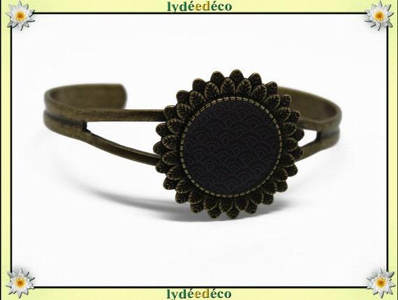 Retro resin: seigaiha waves Japanese black beige bronze brass adjustable 20 mm