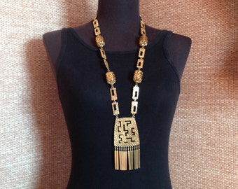 Gold Necklace, Asian Inspired Gold Necklace