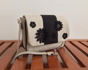 Linen Clutch with flower applications