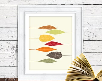Autumn Leaf Modern Art Printable - Instant Download 8x10