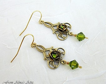Brass Rose Earrings, Rose Earrings, Rose Earring Dangles, Green Crystal w Brass Rose Earrings, Victorian Style Rose Dangles, Rose Dangles