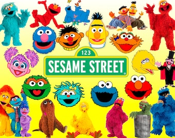 77 Sesame Street ClipArt Digital PNG image picture drawing illustration birthday party handicraft scrapbooking printable Clipart transfer