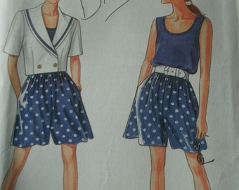 Misses Shorts, Tank Top and Unlined Jacket Sizes 8-10-12-14-16-18-20 Simplicity Easy to Sew Pattern 7790 UNCUT Pattern 1992  Comfortable cut