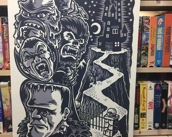 Monster Friends Screenprint B&W ed.