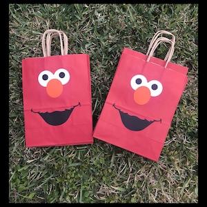 Elmo goodie bags, elmo party favors, favor bags, elmo birthday party, elmo party bags, elmo birthday decorations, set of 12