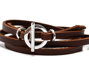 Leather bracelet for women Sterling silver gift for her Leather Cuff Wrap Bracelet with Toggle Clasp and genuine leather jewelry