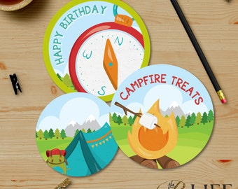 Smores Bonfires and Camping Birthday Party Thank You Tags, Print at Home, Printable No. I281