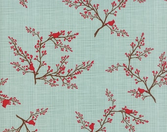 Cardinals on Mint  - Return to Winter's Lane - Kate and Birdie Paper Co - Moda Fabrics - 13172 12 - Christmas Fabric