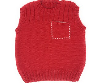 Handmade Toddler Red Sweater - Hand knit, sleeveless