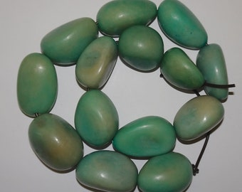 Pale Blue Strand, 14 Tagua Nuts, Vegetable Ivory, EcoBeads, Tagua, Natural, Organic Seeds