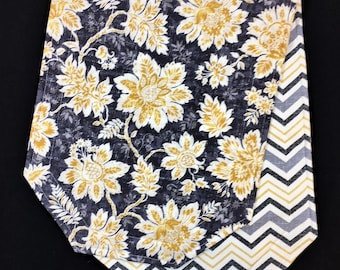 Grey Yellow Flowers and Chevron - Reversible Table Runner