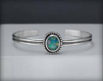 OPAL BRACELET sterling cuff - mosaic opal cuff bracelet, blue opal bracelet, blue opal cuff, mosaic triplet opal cuff, artisan opal cuff