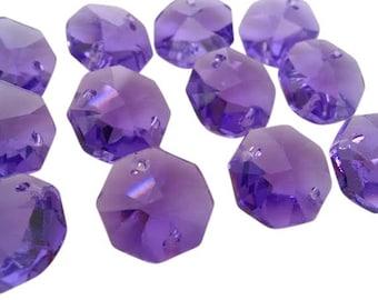 12 Violet Purple 14mm Octagon Chandelier Prisms Asfour Lead Crystal Beads