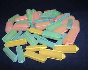 42 Vintage Sponge Hair Rollers, Soft Curlers, Mid Century Hair Styling