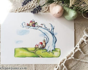 """Submerged houses - Tree house 2 - Watercolour illustration, from the """"Little houses"""" series, by Elisa Ansuini"""