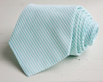 Necktie, Neckties, Mens Necktie, Neck Tie, Seersucker Neckties, Groomsmen Necktie, Groomsmen Gift, Wedding Neckties - Mint Stripe Seersucker