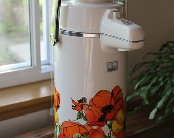 Zojirushi Air Pot 2.23L Orange Floral Coffee Carafe Thermos Pitcher (1970s) - Vintage Drinkware