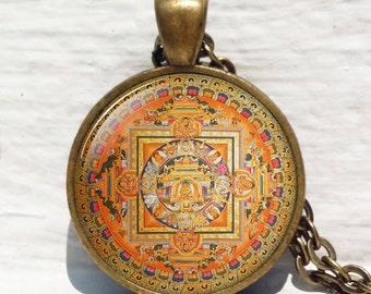 Vecchio ciondolo Mandala buddista tibetana, Mandala tibetano, collana spirituale, mandala buddista, buddista collana, collana per me